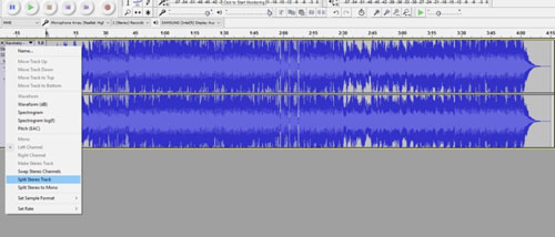 How to split stereo track
